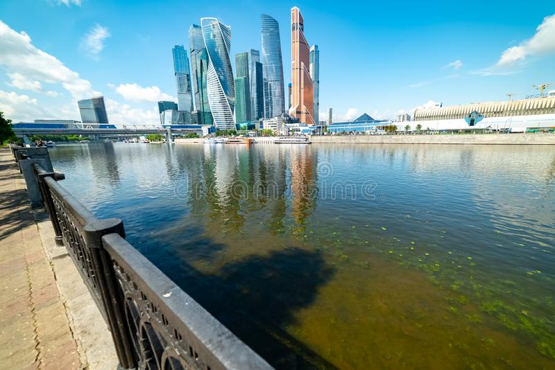 View of `Moscow city`  from Taras Shevchenko embankment. City the Moscow .view of `Moscow city` from Taras Shevchenko embankment.Russia.2019 royalty free stock image