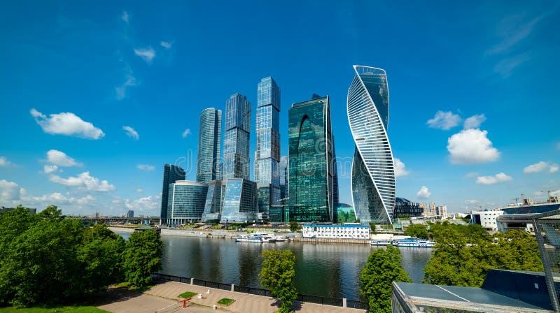 View of `Moscow city`  from Taras Shevchenko embankment. City the Moscow .view of `Moscow city` from Taras Shevchenko embankment.Russia.2019 royalty free stock photo