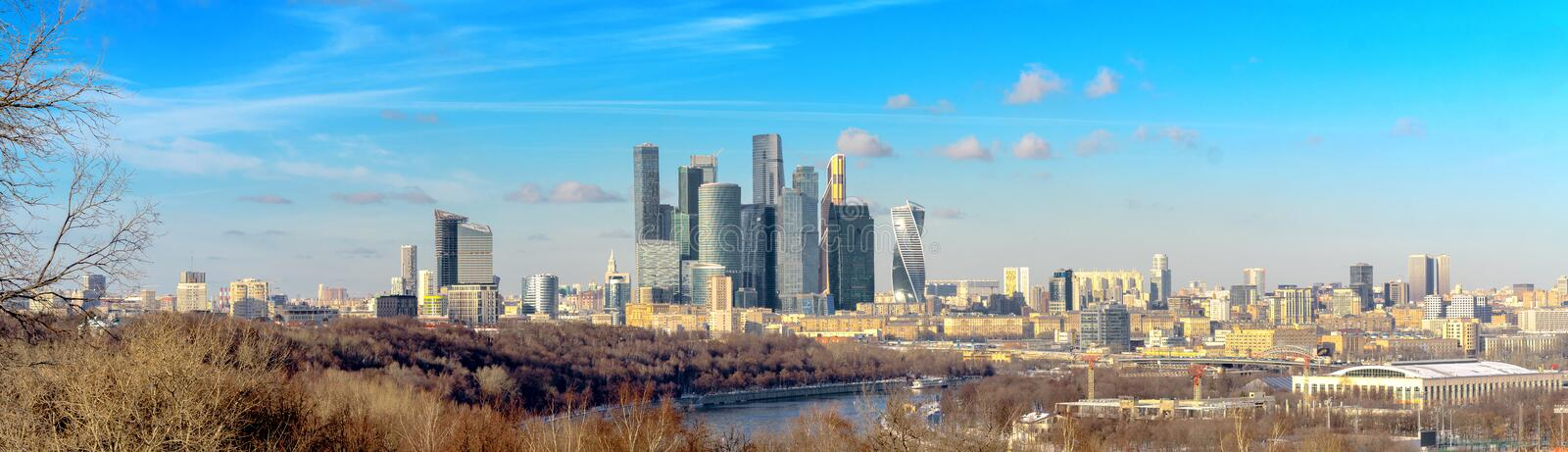 View of the Moscow City with the Vorobyovy Hills royalty free stock photos