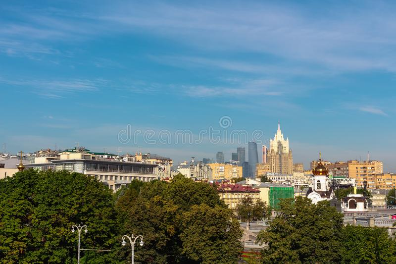 View of Moscow International Business Center and Ministry of Foreign Affairs. MOSCOW, RUSSIA - July 26, 2017: View of Moscow International Business Center and royalty free stock photo