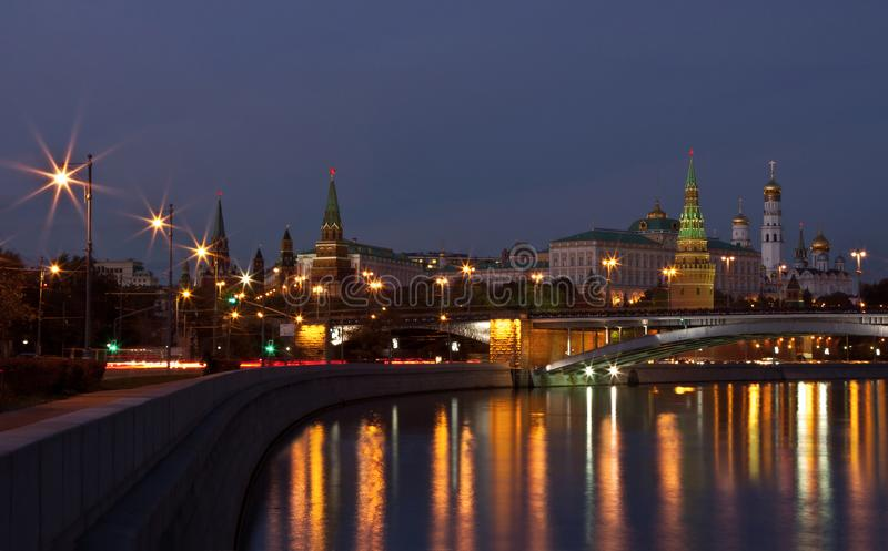 View of the Moscow Kremlin and the Kremlin Embankment of the Moscow River in the evening royalty free stock photo