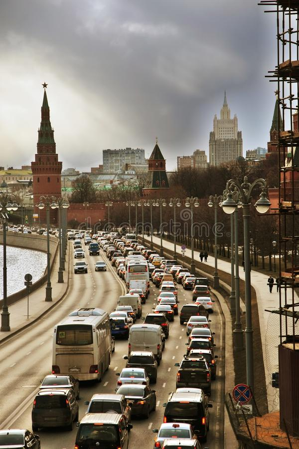 View of Moscow Kremlin, the Moskva river and many cars in a traffic jam royalty free stock photos