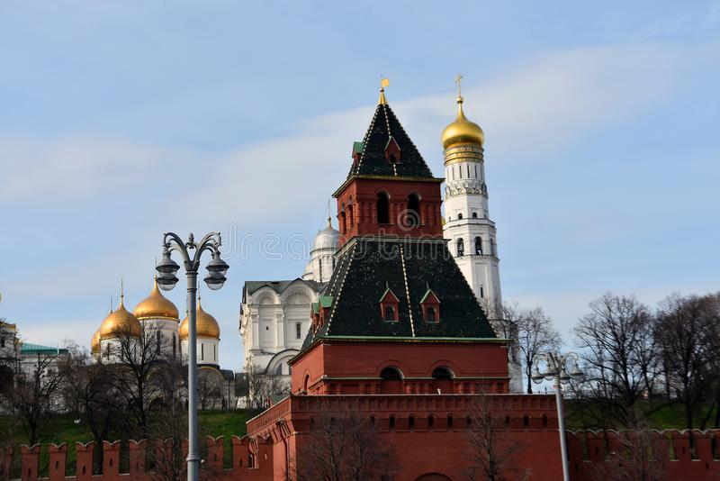 Moscow Kremlin. UNESCO World Heritage Site. View of the Moscow Kremlin, a popular touristic landmark. UNESCO World Heritage Site royalty free stock photography