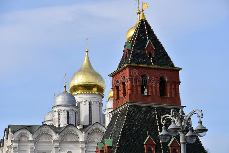 Moscow Kremlin. UNESCO World Heritage Site. View of the Moscow Kremlin, a popular touristic landmark. UNESCO World Heritage Site stock photography