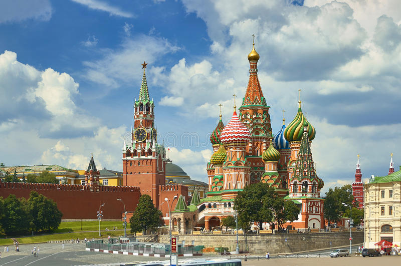 View on Moscow Red Square, Kremlin towers, stars and Clock Kuranti, Saint Basil`s Cathedral church. Hotel Russia Moscow Red Square royalty free stock photos