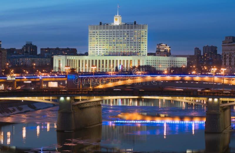 View of Moscow river, Borodinsky Bridge and White House stock photos