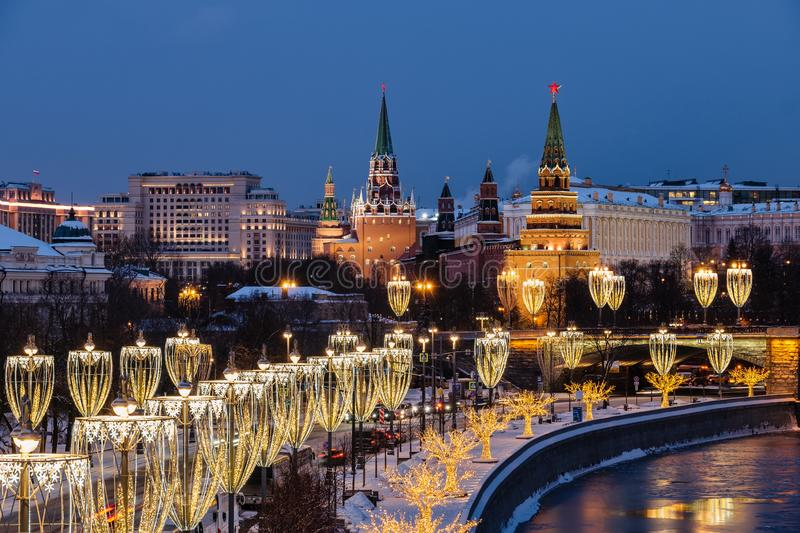 View of Moscow river and Kremlin embankment at the night from Patriarchal Bridge stock photo
