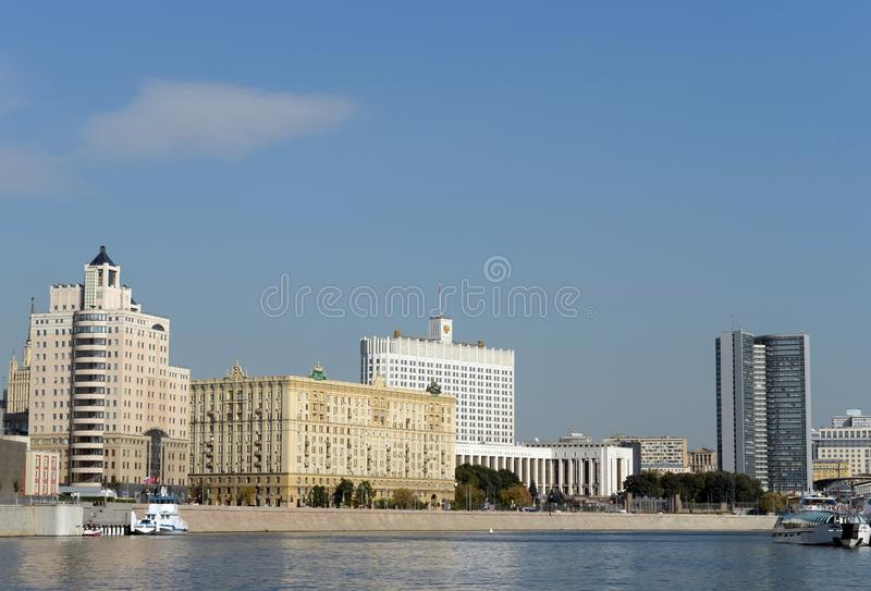 View from the Moscow river To the house of the Government of the Russian Federation. MOSCOW, RUSSIA-SEPTEMBER 15, 2018: View from the Moscow river To the house royalty free stock images