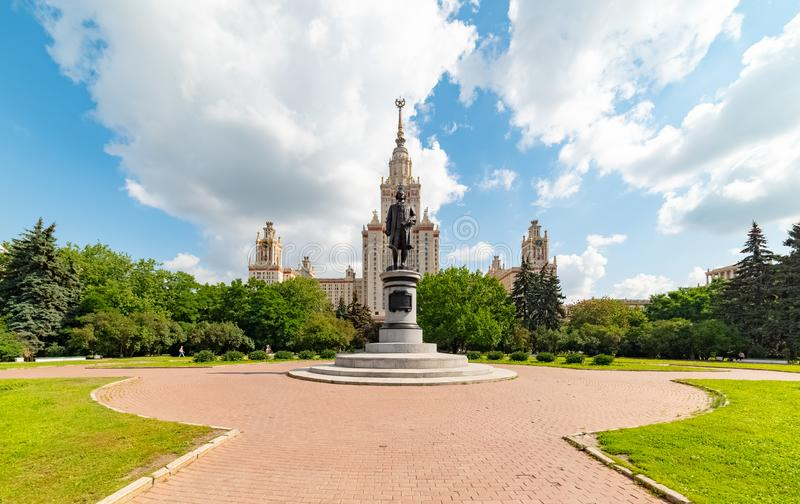 View of the Moscow State University named after M.V. Lomonosov. Monument to Mikhail Lomonosov. City the Moscow .view of the Moscow State University named after royalty free stock photo