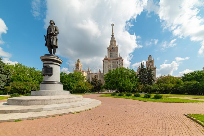 View of the Moscow State University named after M.V. Lomonosov. Monument to Mikhail Lomonosov. City the Moscow .view of the Moscow State University named after stock photography