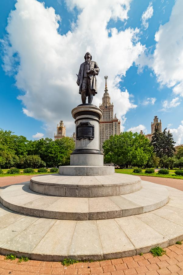 View of the Moscow State University named after M.V. Lomonosov. Monument to Mikhail Lomonosov. City the Moscow .view of the Moscow State University named after royalty free stock image