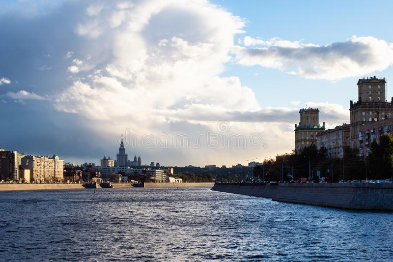 View of Moskva river and Embankments in Moscow city royalty free stock photo