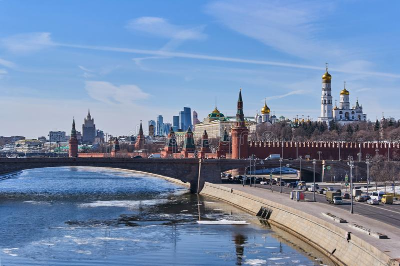 View of Moskva river and Kremlin from new floating bridge in Zaryadye park, Moscow, Russia stock photos