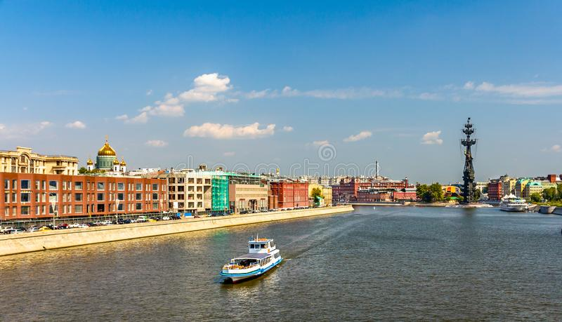 View of the Moskva River in Moscow, Russia royalty free stock photography