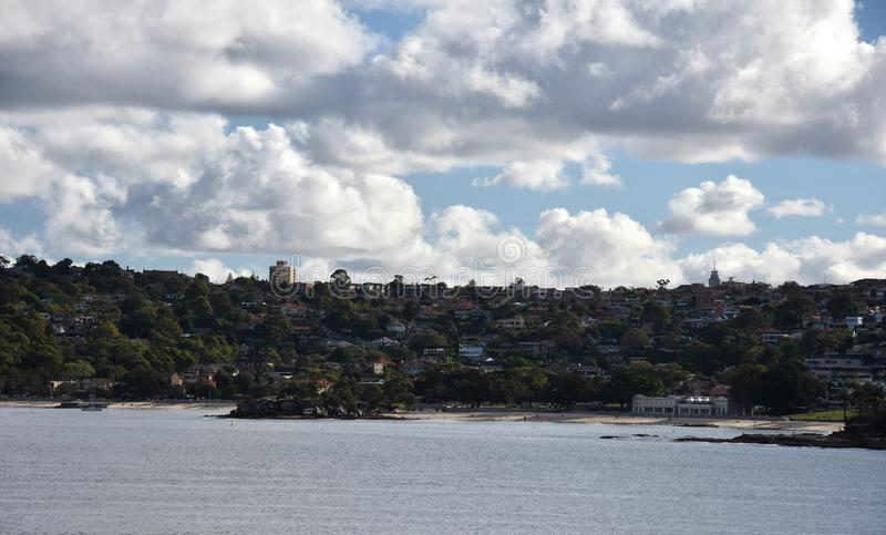 View of Mosman, Balmoral beach and the Bathers Pavillion. View of Mosman, Balmoral beach and  the Bathers Pavillion from Castle Rock Beach, at Dobroyd Head royalty free stock photos