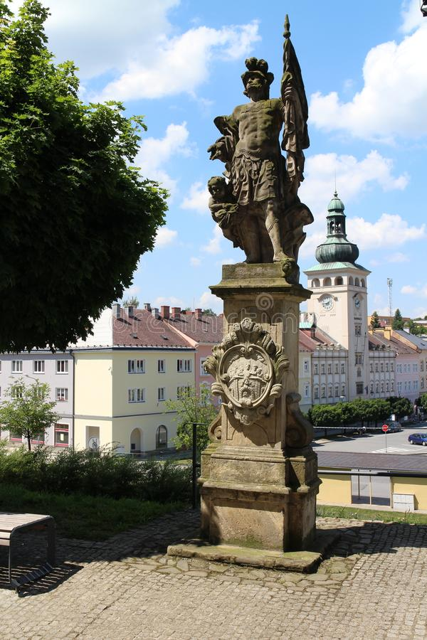 View from Most Holy Trinity church to Komenskeho square with tower of town hall in Fulnek. Czech republic stock photos