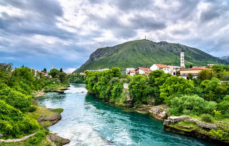 Mostar town at the Neretva river in Bosnia and Herzegovina. View of Mostar town at the Neretva river in Bosnia and Herzegovina stock photo