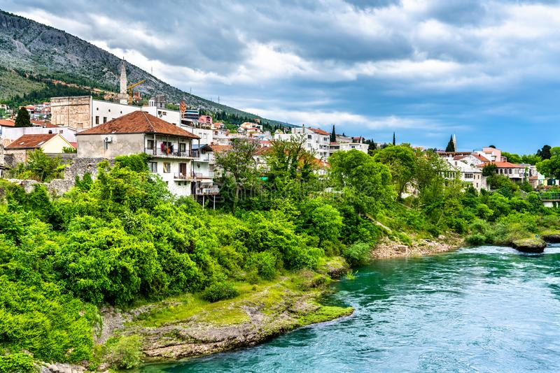 Mostar town at the Neretva river in Bosnia and Herzegovina. View of Mostar town at the Neretva river in Bosnia and Herzegovina royalty free stock photos