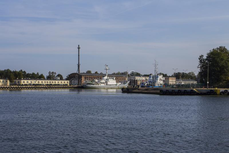 View of the Motlava River and port in Gdansk. Poland stock photo