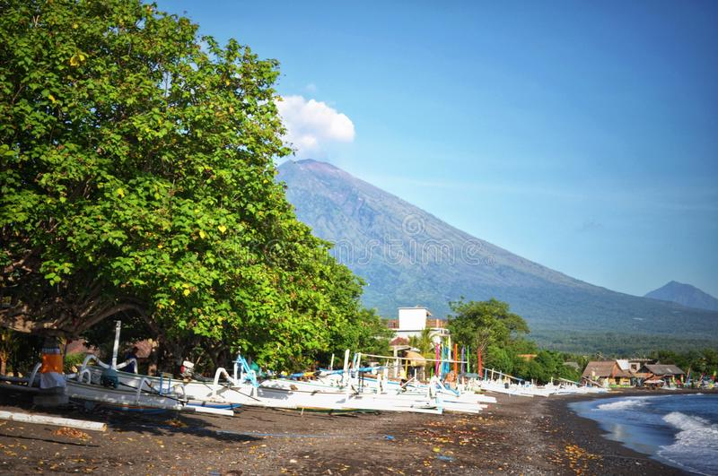 View of mount Agung from Amed beach royalty free stock photo