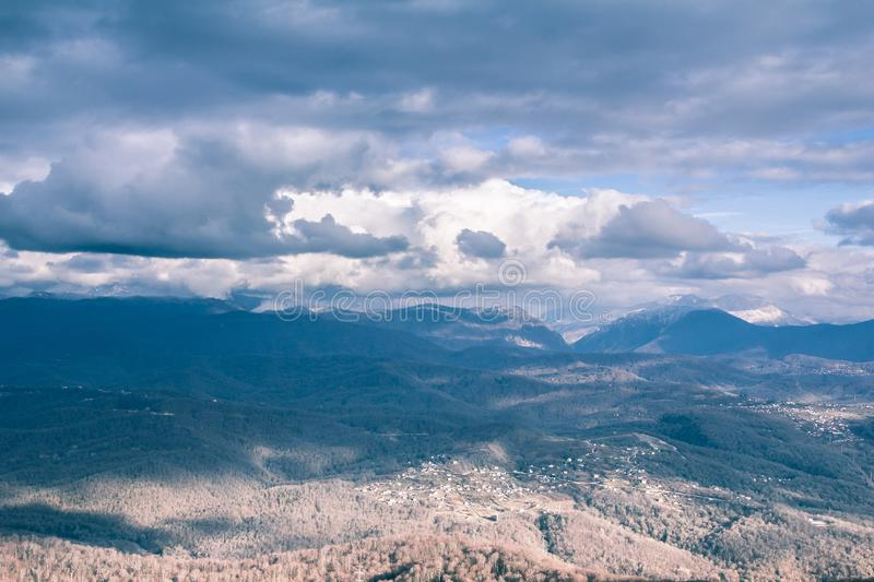View from mount Ahun. Mountains and clouds hiding the sky. the fine given. Beautiful horizon. Infinity. Sochi, Russia royalty free stock image