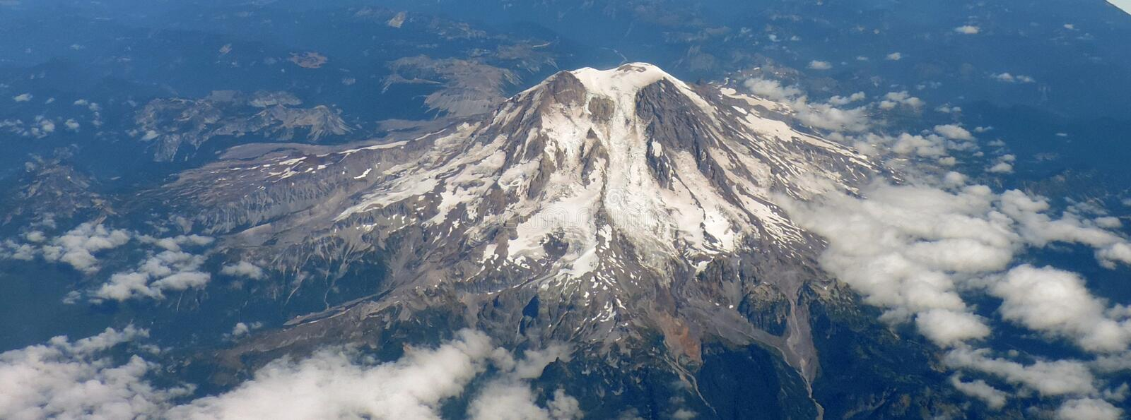 A view of Mount Baker from the plane. The snowy Mount Baker in the summer royalty free stock image