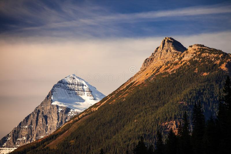 Mount Columbia, tallest peak in Alberta, Canada stock image