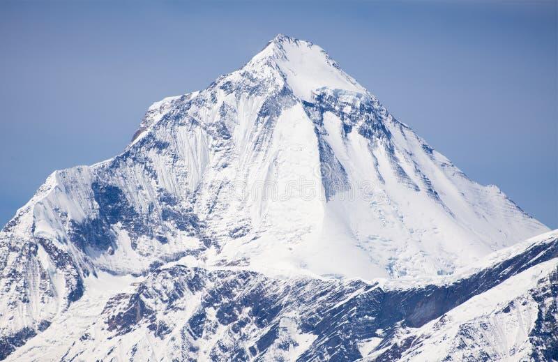 View of mount Dhaulagiri near Thorung La pass. With beautiful sky, round Annapurna circuit trekking trail, Nepal stock photo