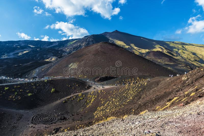 Mount Etna, volcano located in Sicily, Italy stock image
