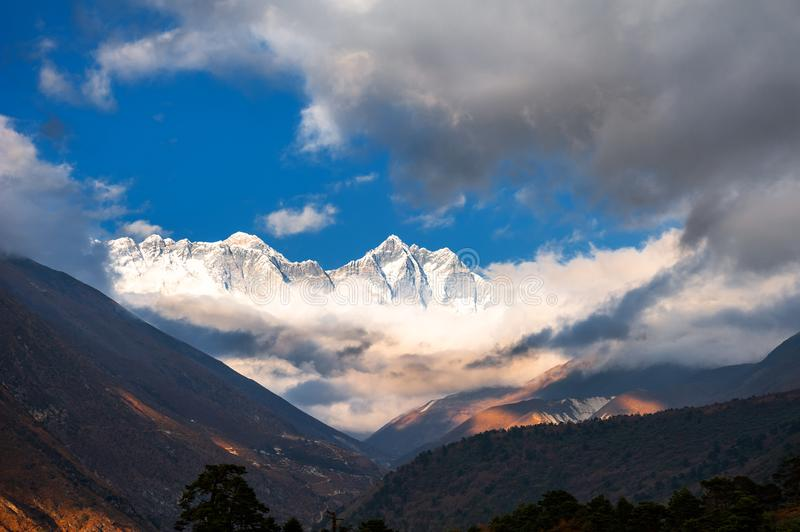 View of Mount Everest, Lhotse and Nuptse in Himalayas, Nepal stock photography