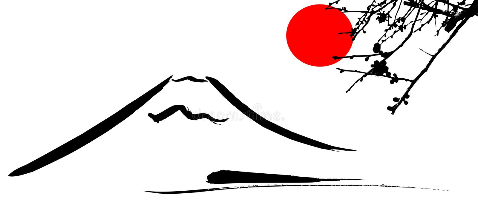 View Mount Fuji Kyoto. And Osaka flowers red sun vector illustration