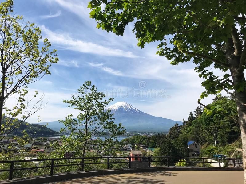The view of Mount Fuji, Mount Fuji is located on Honshū, is the highest volcano in Japan.  stock photo