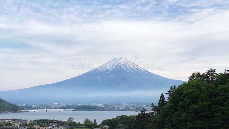 The view of Mount Fuji, Mount Fuji is located on Honshū, is the highest volcano in Japan.  royalty free stock photo