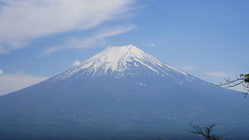 The view of Mount Fuji, Mount Fuji is located on Honshū, is the highest volcano in Japan. It is also a Special Place of Scenic Beauty and one of Japan`s royalty free stock image