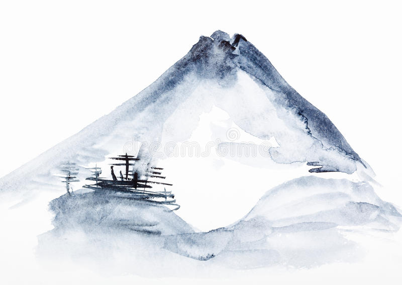 View of Mount Fuji. Training drawing in suibokuga style with watercolor paints - view of Mount Fuji on white paper royalty free illustration