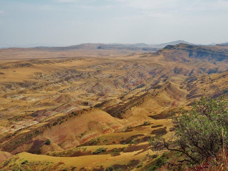 View from Mount Gareja, near to David Gareja Monastery in Georgia. View on the semi-desert and steppe slopes of Mount Gareja, near to David Gareja Monastery in stock photo