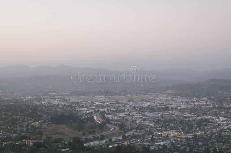 View from Mount Helix, in La Mesa, near San Diego, California.  stock photo