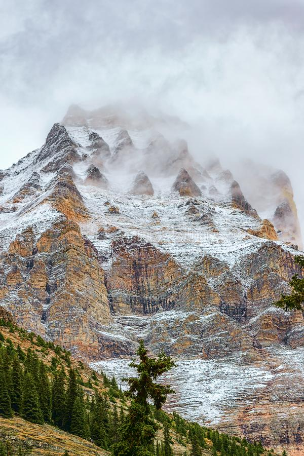Mount Huber covered by snow and clouds.Yoho National Park.British Columbia.Canada stock photography