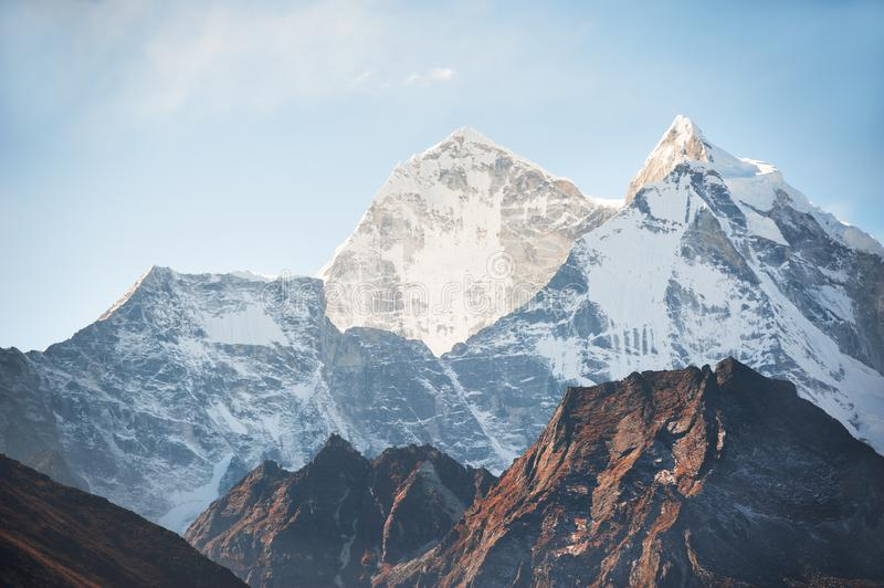 View of Mount Kangtega at sunrise in Himalaya mountains, Nepal. royalty free stock photography