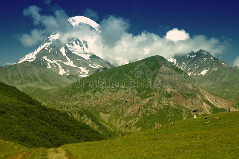 View of Mount Kazbek, Caucasus, Georgia stock photography