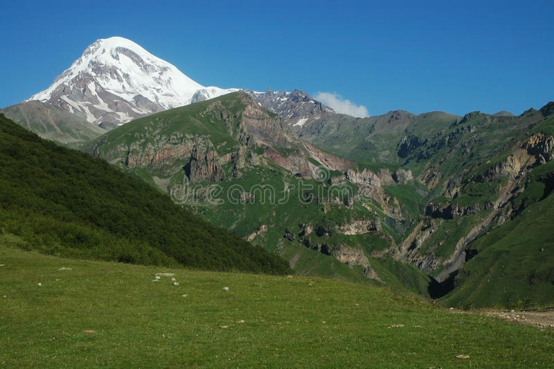 View on Mount Kazbek, Caucasus, Georgia royalty free stock images