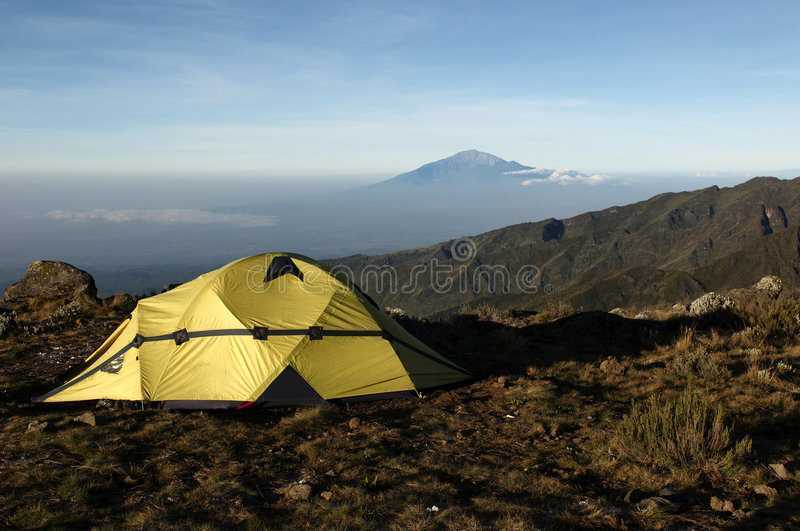 View from mount Kilimanjaro on a mount Meru. Near Arusha at sunrise. Tanzania stock image