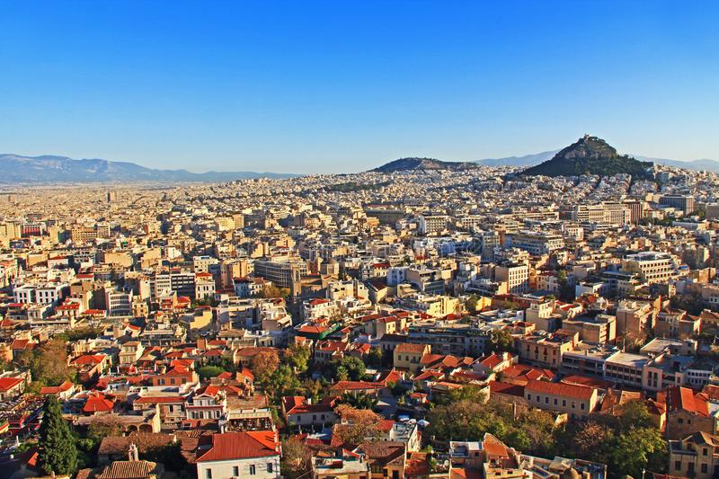 View of Mount Lycabettus and the City of Athens stock photography