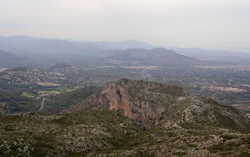 View Mount Montgo at haze. View from the top of Mount Montgo, Denia, Spain royalty free stock photo