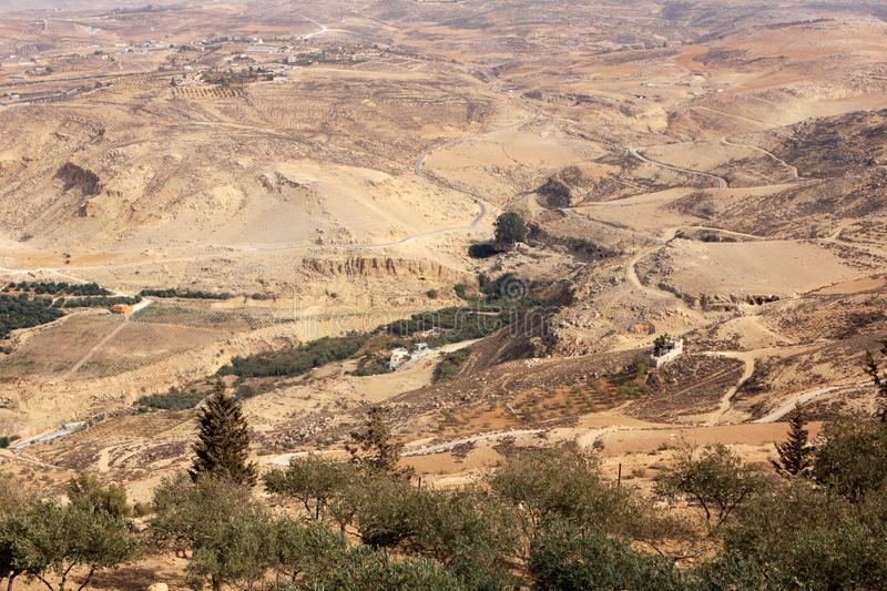 View from Mount Nebo. Desert view from Mount Nebo in Jordan stock photos
