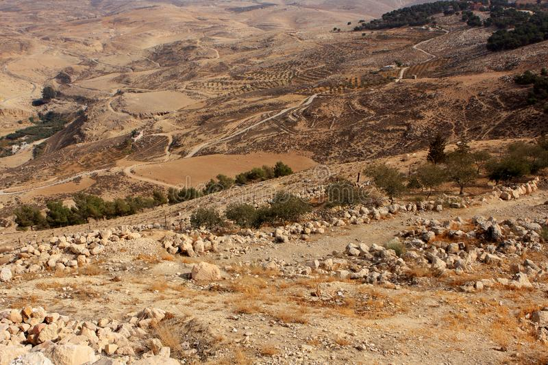 View from Mount Nebo. Desert view from Mount Nebo in Jordan royalty free stock photography