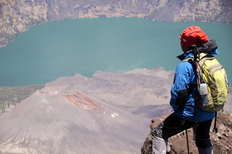 View from Mount Rinjani, taken with fish eye lens, Mount Rinjani is an active volcano in Lombok, Indonesia. royalty free stock images