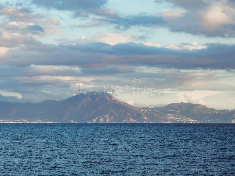 View of Mount Vesuvius on a cloudy day stock images
