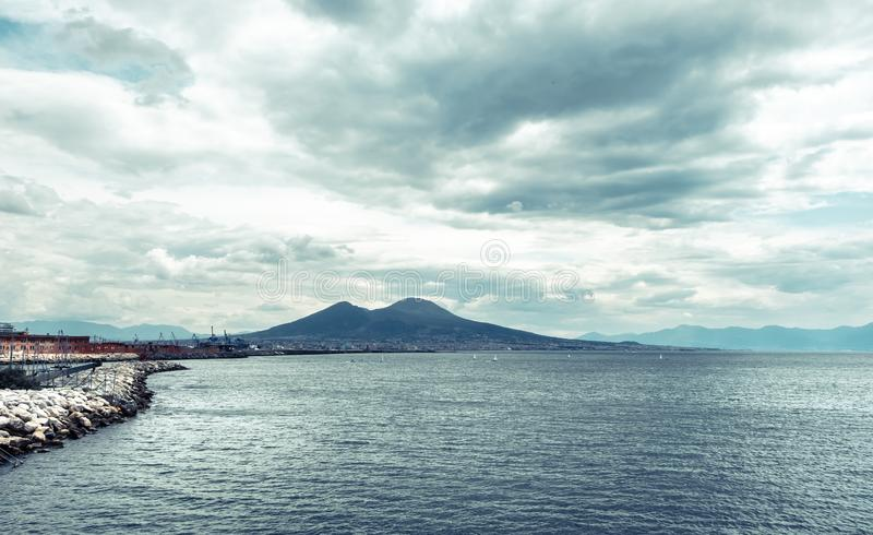 Mount Vesuvius, Italy. View of Mount Vesuvius from the shore of Naples, Italy stock photo