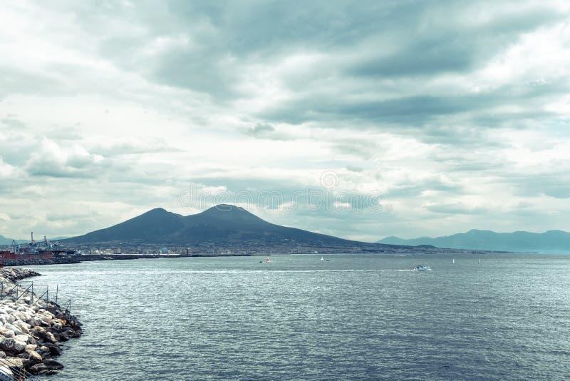 Mount Vesuvius, Italy. View of Mount Vesuvius from the shore of Naples stock photos